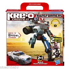 New Kre-O PROWL Transformers 30690 Hasbro w/2 Kreons Build Police Car & Robot