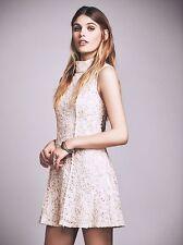NWT Free People Queen Anne Mock Neck Almond Mini Dress 12 $300