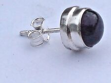 SINGLE STERLING SILVER 10mm. STUD EARRING with AMETHYST CABOCHON STONE £6.50 nwt
