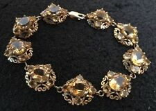 GTV Gems TV Hallmarked 9ct 9k Gold Filigree Citrine Oval Cluster Bracelet