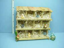 Dollhouse Miniature Chicken Coop Filled & Finished wi ,6 Chickens,basket of eggs