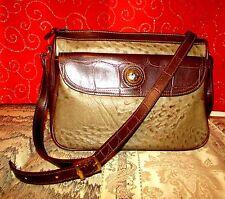 """Carryland 2 Tone Brown Ostrich/Croc Prt Faux Leather Crossbody 8.75""""H X 11""""L Euc"""