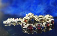 "8"" x 1/4"" Seventeen 8 x 6mm Garnet 0.925 Sterling Silver Tennis Estate Bracelet"