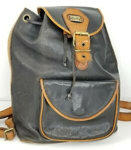 Marco Polo Vintage Distressed Black Tan Leather Back Pack Backpack Bag Purse