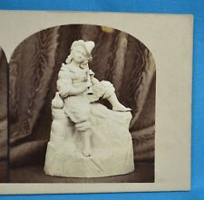 1850/60s Stereoview Photo Still Life Of Sculpture Statue The Mountain Minstrel