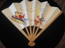 Vintage Christmas Holiday Santa Claus Sled Paper Cardboard Fan ladies