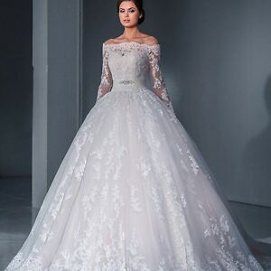 Off shoulder Lace Appliqué Long Sleeves wedding dress with sash, UK tailor made