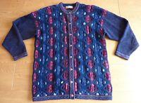 Jumper Vintage Ladies Abstract Flora Argyle Diamond Wool Cardigan Size Medium