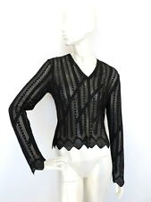 GIVENCHY Authentic Womens Knit Top Blouse Jumper Black-Silver Yarn size M