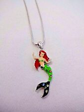 Mermaid necklace medium red-haired crystals snake chain