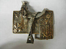 Vintage 925 Sterling Silver & 10k GF Horse Saddle Belt Buckle