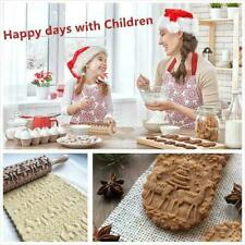 Creative Christmas Embossing Rolling Pin Kitchen Wooden Rolling Engraved U1J8