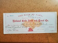 1874 Napa City National Gold Bank and Trust Co to The Bank of British Columbia