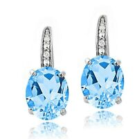 Made with Swarovski Crystal SWISS BLUE TOPAZ EARRINGS 18K White Gold Plated