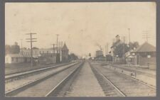 1905 Real Photo Postcard Bergen, New York Railroad Station & Other Buildings