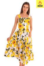 RRP €3835 DOLCE & GABBANA Midi Fit & Flare Dress Size IT 38 / XS Lemons Print