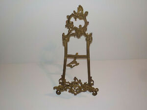 "17 1/2"" Vintage Ornate Brass Easel Picture Frame Art Holder"