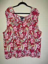 MAGGIE BARNES 3X cranberry pink floral sleeveless crinkle blouse