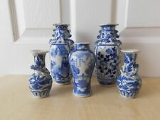 More details for 19th century chinese blue & white vases x 5 af figural, birds, flowers