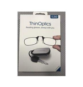 ThinOptics KC1.5BLACKISR Reading Glass With Keychain Case, Black
