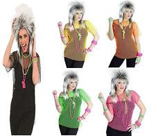 1980s LADIES PUNK ROCKER MESH FISHNET T-SHIRT TOP FANCY DRESS COSTUME