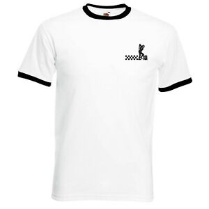 Ska Man Ringer T-Shirt With Embroidered Logo. Ska, Retro T Shirt. Two Tone. Mod