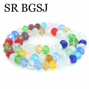 5 Strands 5x8mm Rondelle Faceted Cystal Glass Jewelry Making Beads Strands 15""