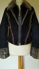 Firetrap Jacket with Faux Suede Front, Faux Fur Collar & Cuffs. Black. Size S