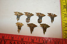 7 Vintage WW2 US Military Nurse Pins Medical Service Caduceus Push Back Pins