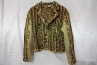 SANDY STARKMAN Multi-Color Textured Fringed & Beaded Blazer Womens Size L-B103