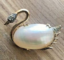 "Signed CORO Shell Swan Brooch. Baroque Pearl Belly Gold Tone 2"" BOOK PIECE"