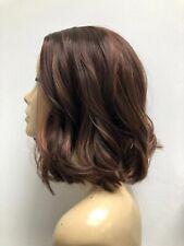 new fashion high heat resistant flowing wavy lady wig brown mix 4/30# T-010A