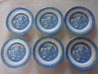 "6 Rare Morris Crown Chelsea Blue Willow 8"" Plates"