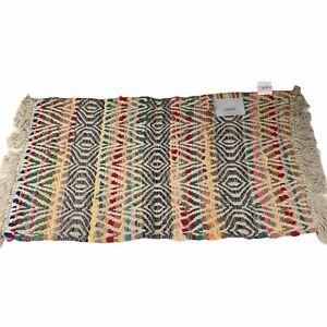 """Colorful Shag Chindi Rug 21""""X 36"""" Boho Chic Home Decor Ivory Aztec Southwestern"""