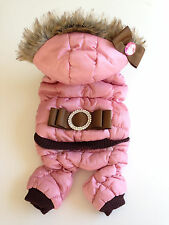 DOG PUPPY JACKET JUMPSUIT WINTER WARM PINK BROWN FALL FAUX FUR WIND PROOF SMALL