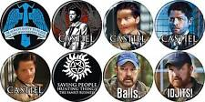 Supernatural (TV Series) Button/Pin Set of 8 - Castiel, Bobby & More