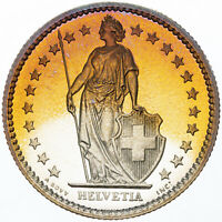 1982 SWITZERLAND HELVETIA 2 FRANCS GOLDEN BU GEM STRIKING TONED COLOR UNC (MR)
