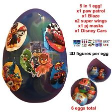 "1 Jumbo 6"" Egg With 6 PLASTIC SURPRISE EGGS Figure Per Egg Paw Patrol, Cars, PJ"