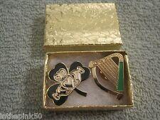 Irish Gaelic Shamrock Claddagh Brooch & Irish Harp Pin Gift Box Set Irish Pride