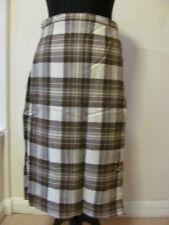 Vintage 1970s Cream&Brown Ladies Scottish Wool Kilt - Old Sz 16 - Free Kilt Pin