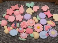 50 Mixed Pastel Color Flatback Resin Cabochons Assorted Animal Flower Heart DIY