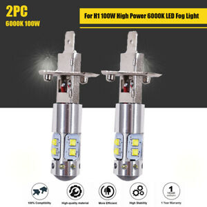 2Pcs Fit For Ford Escape 100W High Power 6000K H1 LED Fog Light Driving Bulb DRL