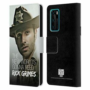THE WALKING DEAD RICK GRIMES LEGACY LEATHER BOOK CASE FOR HUAWEI PHONES