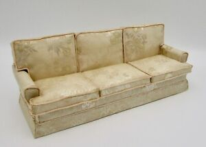 Nuoyi Wooden Recliner Chair Vintage Sofa,Dollhouse Furniture 1:12 Bench Couch Sofa with 4 Cushions,Non-Toxic Paint