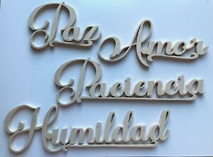 Set of four 3D in Spanish - Paz, Amor, Paciencia and Humildad wall decoration.