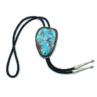 LARGE Vintage Navajo Sterling Silver Kingman Turquoise Bolo Tie