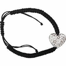 Silver Colour Heart Bracelet Black Wristband Bangle Womens Ladies Girl Jewellery