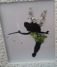 "Disney TINKERBELL Handmade Button Art Picture Size 12""x10"" REDUCED TO £13.00"