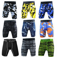 Men's Compression Shorts Running Fitness Training Camo Spandex Bottoms Quick Dry