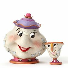 New JIM SHORE DISNEY Figurine MRS POTTS AND CHIP Statue BEAUTY BEAST Quilted Art